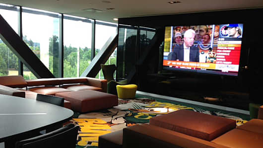 The players' lounge at the University of Oregon's football practice facility. Some of the furnishings feature Italian leather.